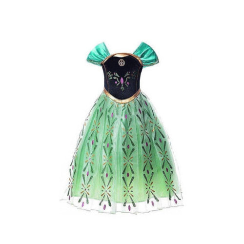 Frozen Anna groene verkleedjurk 92, 98/104, 110, 116/122, 128/134