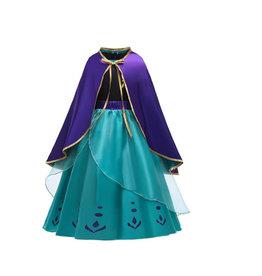 Het Betere Merk Frozen 2 Anna jurk paarse / turquoise cape