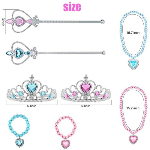 Prinsessen roze / blauw accessoireset