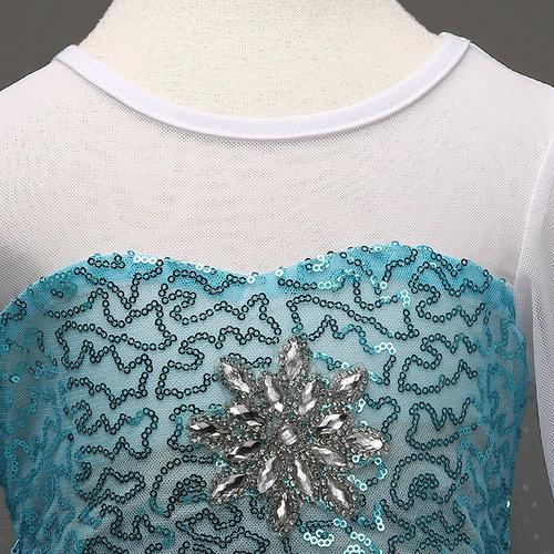 Het Betere Merk Frozen Elsa Jurk Sleep  - Prinsessenjurk - GRATIS Kroon / Staf 92/98, 98/104, 110, 116/122, 128/134 /140/146