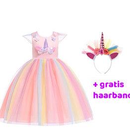 Het Betere Merk Unicorn Jurk - Eenhoorn Jurk - Gratis haarband  -  Verkleedkleding  | Roze
