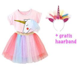 Het Betere Merk Unicorn rok - Unicorn Shirt - Verkleedkleding Kind - Gratis Haarband | Roze Paars