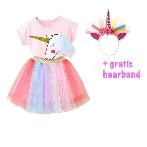 Het Betere Merk Unicorn rok - Unicorn Shirt - Verkleedkleding Kind - Gratis Haarband | Roze Paars + rok maat 86, 92, 98, 104, 110, 116, 122, 128