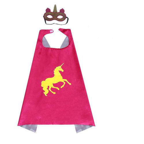 Unicorn roze  cape + masker  - one size