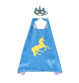 Unicorn blauwe  cape + masker