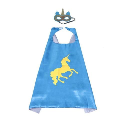 Unicorn eenhoorn blauwe  cape + masker  - one size