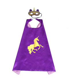 Unicorn paarse  cape + masker
