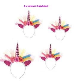 Traktatie Uitdeelcadeautjes Kinderen-4 x Unicorn Diadeem/Haarband-Grabbelton Cadeautjes-Klein Speelgoed