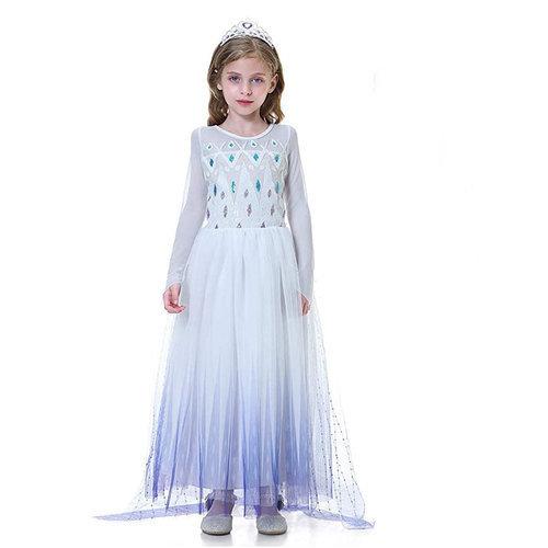 Frozen 2 Elsa jurk - cape - Deluxe verkleedjurk  + accessoires 98/104, 110, 116/122, 128/134, 140