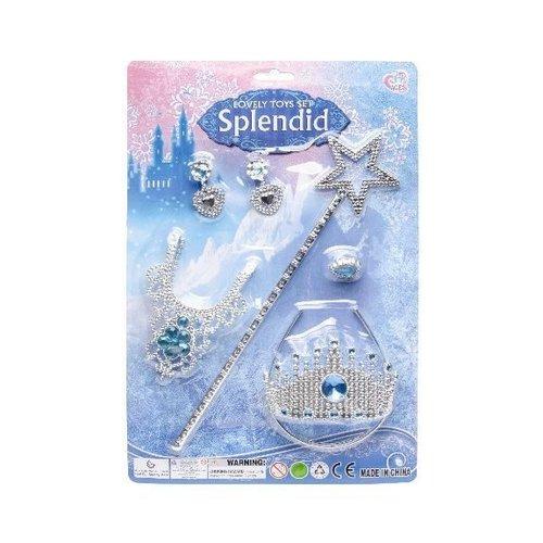 Prinsessen accessoireset Splendid + blauwe lange handschoenen