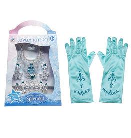 Prinsessen accessoireset Splendid +  korte blauwe handschoenen