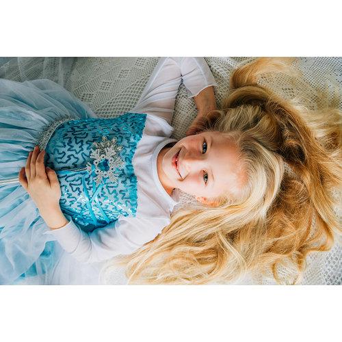 Het Betere Merk Frozen Elsa Jurk Sleep  - Prinsessenjurk - GRATIS Kroon  92/98, 98/104, 110, 116/122, 128/134 /140/146