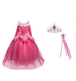 Aurora roze prinsessenjurk - verkleedjurk + Gratis Accessoires