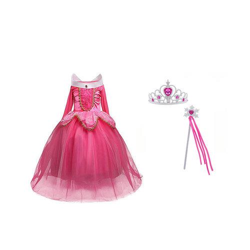 Aurora roze prinsessenjurk - verkleedjurk + Gratis Accessoires maat 98, 104/110, 110/116, 122/128, 134/140
