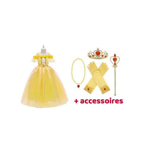 Het Betere Merk Prinsessen Jurk  Belle  - Beauty and the Beast maat 98, 104/110, 116/122, 122/128, 134/140, 146/152