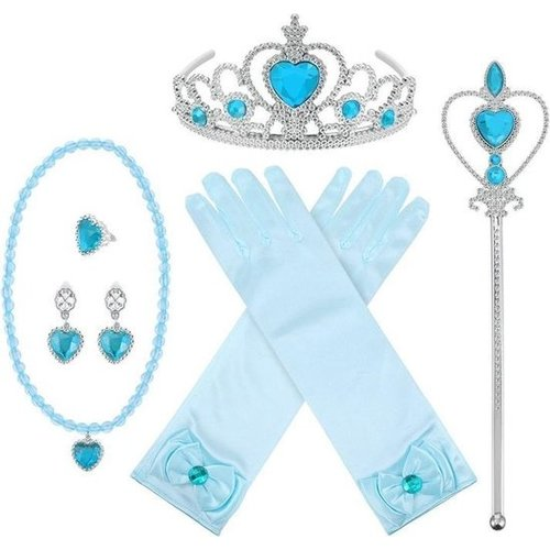 Prinsessen accessoireset - blauw - 6-delig
