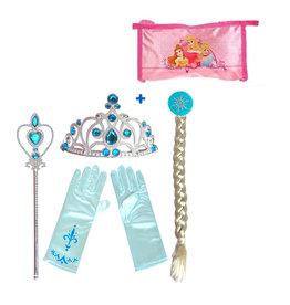 Frozen Elsa 4-delig accessoireset  + Princess etui - prinsessenaccessoires