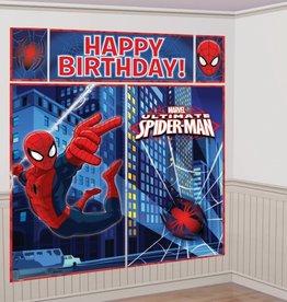 Spiderman muurdecoratie 1.8 meter - Happy Birthday