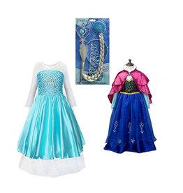 Het Betere Merk 3-Pack-Frozen Elsa Jurk + Anna Jurk - Accessoires - Verkleedkleding Meisje - Prinsessenjurk