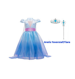 Het Betere Merk Elsa Jurk - Prinsessenjurk Meisje - Frozen 2 Jurk - Prinsessen verkleedkleding + GRATIS Staf/Kroon