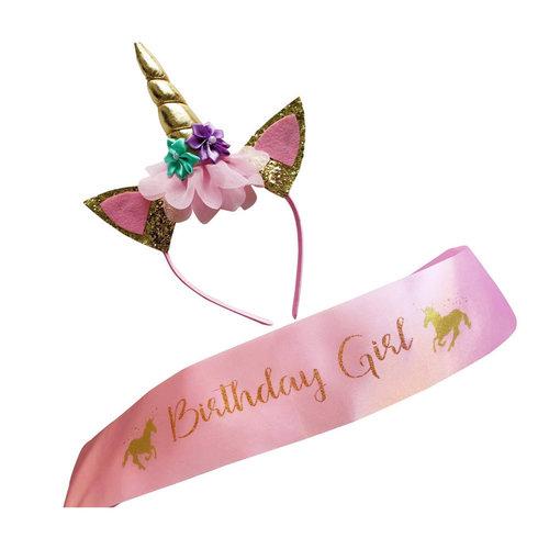 Unicorn, diadeem, sjerp, Birthday Girl, roze