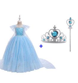 Het Betere Merk Frozen Elsa Blauwe Prinsessenjurk + Gratis Accessoires