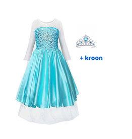 Het Betere Merk Elsa Jurk - Prinsessenjurk Meisje - Frozen + GRATIS  Kroon