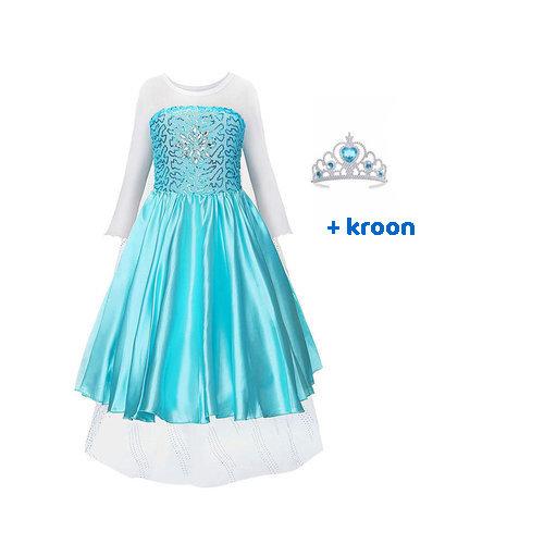 Het Betere Merk Elsa Jurk - Prinsessenjurk Meisje - Frozen + GRATIS  Kroon - 92/98, 98/104, 110, 116/122, 128/134