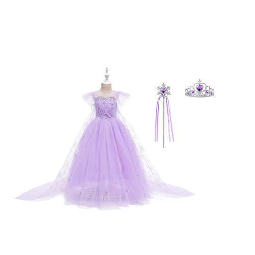 Het Betere Merk Frozen Elsa Paarse Prinsessenjurk + Gratis Accessoires