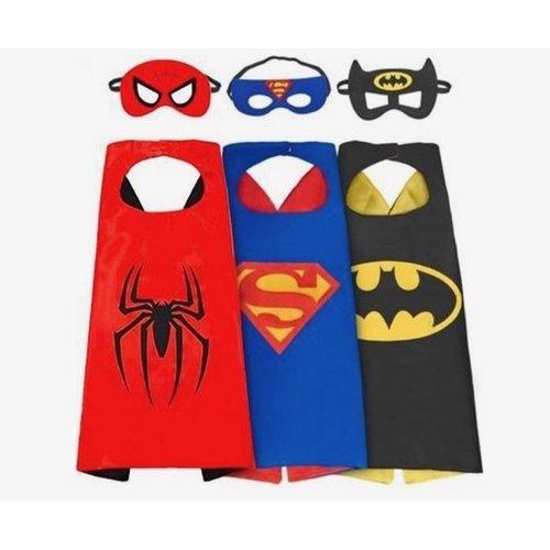 3-pack Superhelden pakket Batman, Superman, Spiderman cape + masker