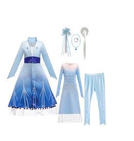 Frozen 2 Elsa blauwe jurk, onderjurk, broek + gratis accessoireset