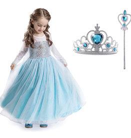 Het Betere Merk Frozen Elsa Jurk Sleep  Deluxe - Prinsessenjurk - GRATIS Kroon / Toverstaf