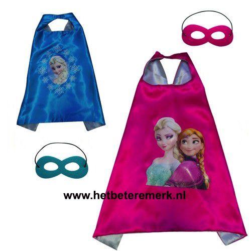 Prinses Elsa/Anna cape + masker- 3-9 jaar