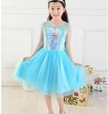 Frozen Elsa jurk  - kort  86/92, 98/104, 104/110, 116/122, 122/128, 128/134