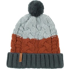 Passenger Cocoon Bobble Beanie Hat Red/Blue/Grey