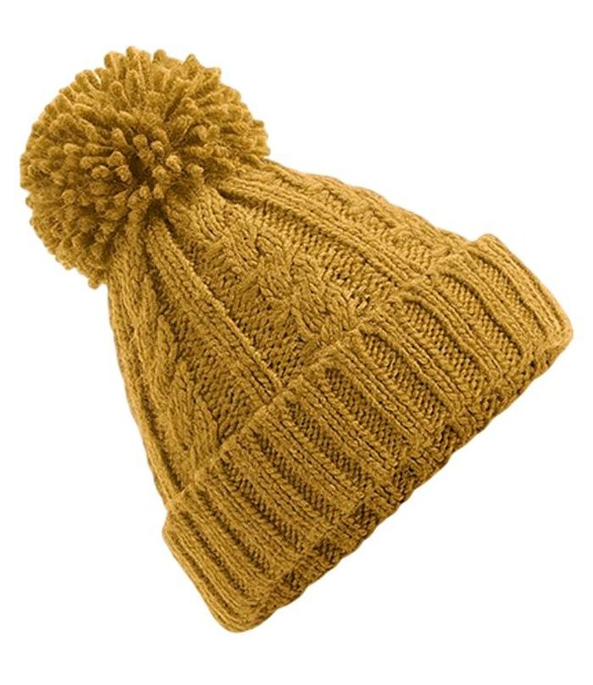 Beechfield Cable Knit Melange Pom Pom Beanie - Mustard