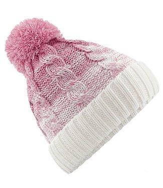 Beechfield Ombre Pom Pom Beanie - Dusky Pink