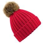 Beechfield Fur Pom Pom Chunky Beanie - Classic Red