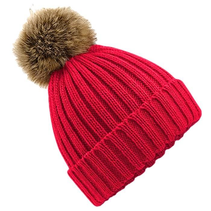 45c873d32 Beechfield Kids Fur Pom Pom Beanie - Classic Red