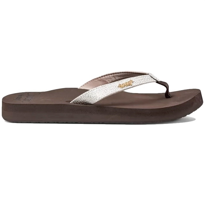 Reef Star Cushion Sassy Flip Flops Brown White