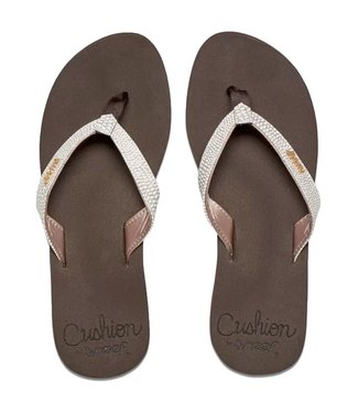 Reef Star Cushion Sassy Flip Flops Brown/White