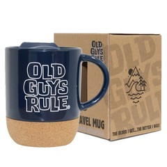 Old Guys Rule Stacked Travel Mug Navy
