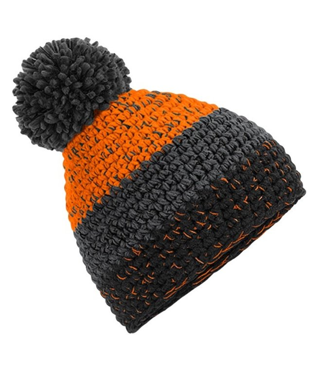 Beechfield Freestyle Pom Pom Beanie - Orange/Graphite