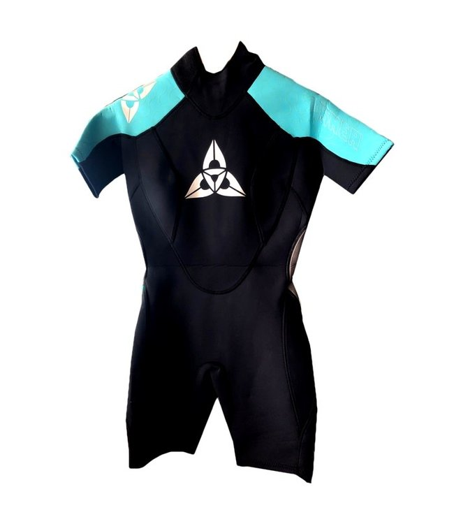 O'Shea Womens Halo 3/2mm Shorti Wetsuit Black/Teal