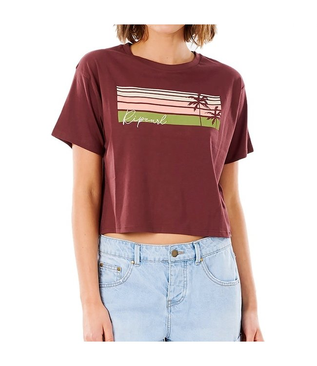 Ripcurl Tallows Crop Tee Maroon