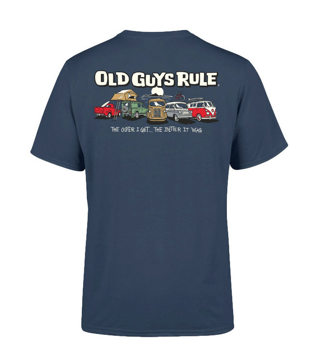 Old Guys Rule Parking Lot 3 T-Shirt Blue Dusk