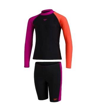 Speedo Youth Colourblock L/S Rash Vest and Shorts Set