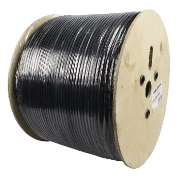 Alpha Cable, coax cable RG59 on wooden casing 500 meters. Alpha Cable, 500 meter coax cable on a roll, high quality cable with full copper core (no copper-plated steel), usable for video and telemetry up to 250 meters maximum, UV-resistant, black ...
