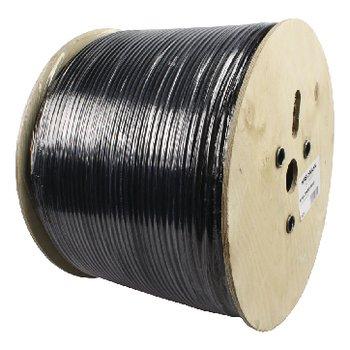 Alpha Cable, cabo coaxial RG59 em caixa de madeira de 500 metros. Cabo Alpha, cabo coaxial de 500 metros em rolo, cabo de alta qualidade com núcleo totalmente de cobre (sem aço revestido de cobre), utilizável para vídeo e telemetria até 250 metros no máxi