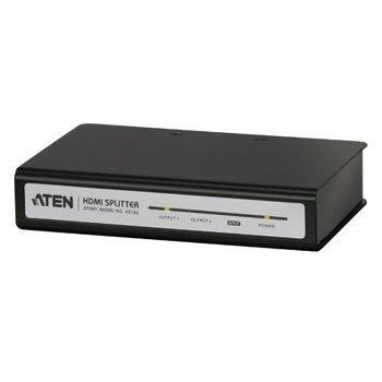 El divisor HDMI de 2 puertos Aten permite visualizar simultáneamente imágenes y sonido desde un NVR o DVR, reproductor de Blu-ray, receptor de satélite HD, decodificador o consola de juegos en 2 pantallas de HDTV. Esto hace que no sea necesario cambiar lo